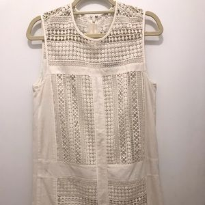J. Crew Ivory Embroidered Shift Dress